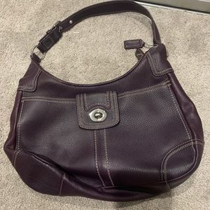 Purple coach saddle handbag purse